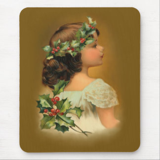 Christmas Holly Girl Mouse Pads