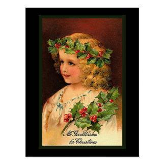 """""""Christmas Holly Girl"""" Postcard"""