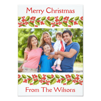Christmas Holly Greeting Photo Card