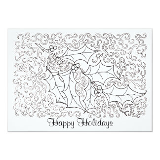 Christmas Holly Happy Holidays Card to Color