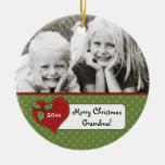Christmas Holly Heart Grandma Photo Personalized Double-Sided Ceramic Round Christmas Ornament
