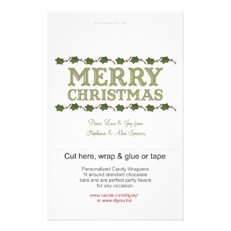 Christmas Holly Holiday Candy Wrappers Flyer