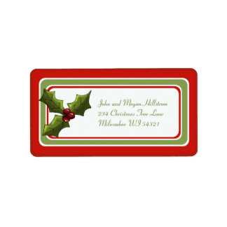 Christmas Holly Holiday Gift Tag Personalized Address Label
