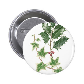 Christmas Holly & Ivy Sprig Botanical Badge Button