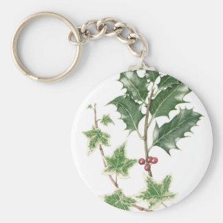 Christmas Holly & Ivy Sprig Botanical Key Ring Basic Round Button Keychain