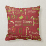Christmas holly joy merry pattern throw pillow