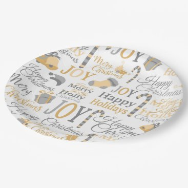 Professional Business Christmas holly joy pattern paper plate