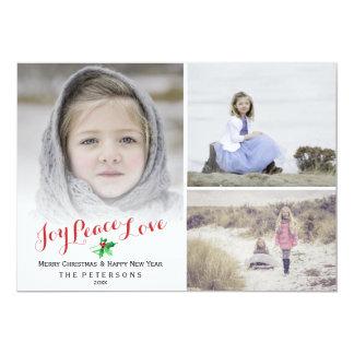 Christmas Holly Joy Peace Love Photo Collage Card