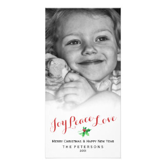 Christmas Holly Joy Peace Love Script Custom Photo Card
