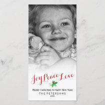 Christmas Holly Joy Peace Love Script Custom Photo Holiday Card