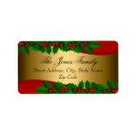 """Christmas Holly Leaves Address Labels<br><div class=""""desc"""">Christmas Address Labels. Elegant Holly Leaves design.</div>"""