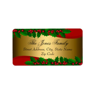 Christmas Holly Leaves Address Labels at Zazzle