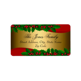 Christmas Holly Leaves Address Labels
