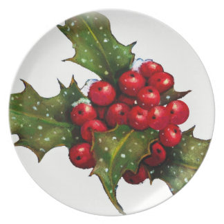 Christmas, Holly Leaves and Berries: Snow: Art Melamine Plate