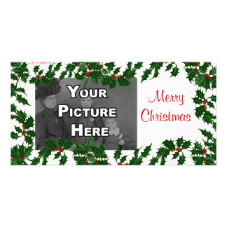 Christmas Holly Leaves Photo Card