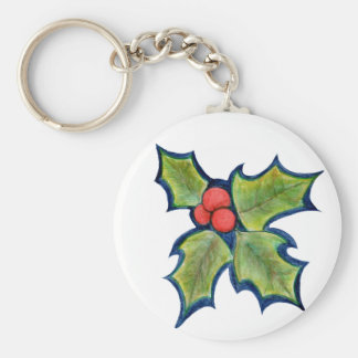 Christmas Holly Leaves, Red Berries Basic Round Button Keychain