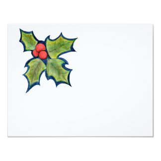 Christmas Holly Leaves, Red Berries Card