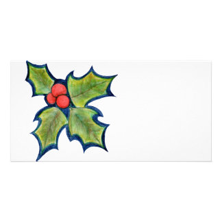 Christmas Holly Leaves, Red Berries Photo Card