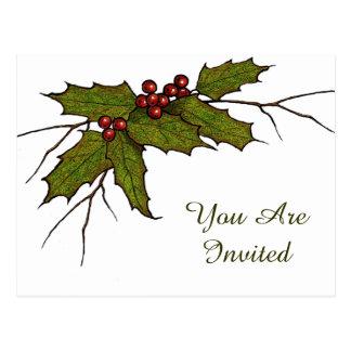 Christmas Holly Leaves, Twigs, Berries: Art Postcard
