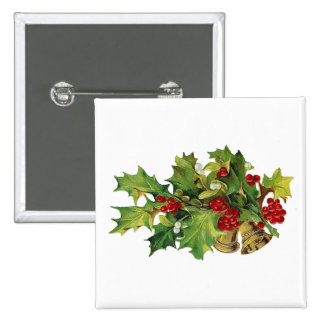 Christmas Holly, MIsteltoe and Brass Bells Pinback Button