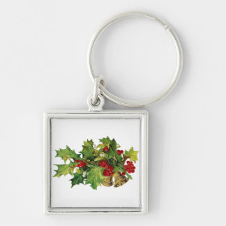 Christmas Holly, MIsteltoe and Brass Bells Silver-Colored Square Keychain