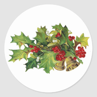 Christmas Holly, MIsteltoe and Brass Bells Round Sticker