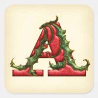 Christmas Holly Monogram A Envelope Seals