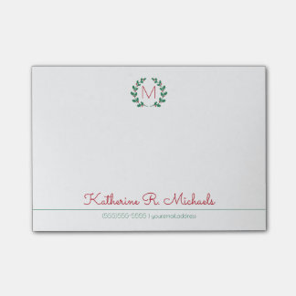 Christmas Holly Monogram And Information Post-it Notes