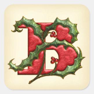 Christmas Holly Monogram B Envelope Seals Sticker