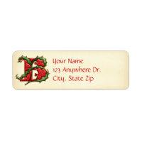 Christmas Holly Monogram B Label