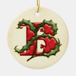 Christmas Holly Monogram B Double-Sided Ceramic Round Christmas Ornament