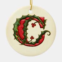 Christmas Holly Monogram C Ceramic Ornament