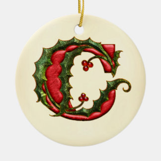 Christmas Holly Monogram C Ceramic Ornament