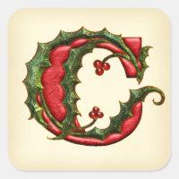 Christmas Holly Monogram C Envelope Seals