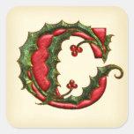 Christmas Holly Monogram C Envelope Seals Square Sticker