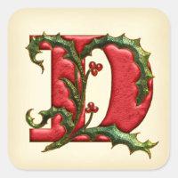 Christmas Holly Monogram D Envelope Seals