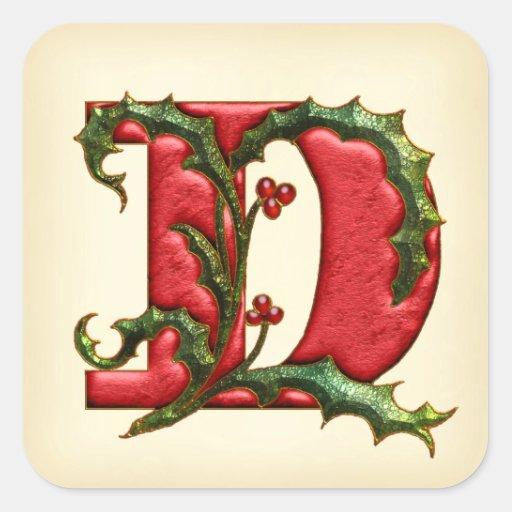 Christmas Holly Monogram D Envelope Seals Square Sticker