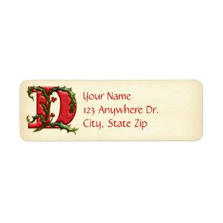 Christmas Holly Monogram D Return Address Label