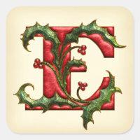 Christmas Holly Monogram E Envelope Seals