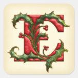 Christmas Holly Monogram E Envelope Seals Square Sticker