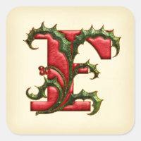 Christmas Holly Monogram F Envelope Seals