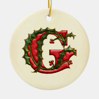 Christmas Holly Monogram G Ceramic Ornament