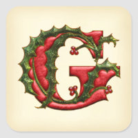 Christmas Holly Monogram G Envelope Seals