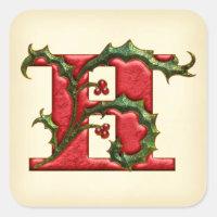 Christmas Holly Monogram H Envelope Seals