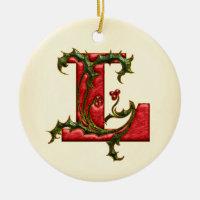 Christmas Holly Monogram L Ceramic Ornament