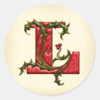 Christmas Holly Monogram L Envelope Seals