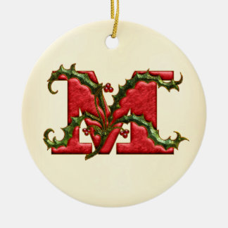 christmas holly monogram m ceramic ornament