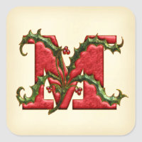 Christmas Holly Monogram M Envelope Seals