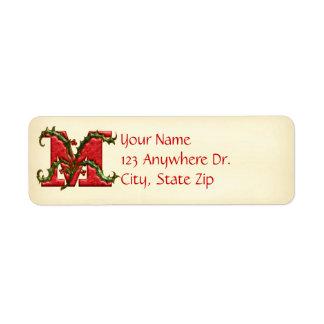 Christmas Holly Monogram M Label