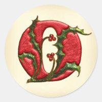 Christmas Holly Monogram O Envelope Seals